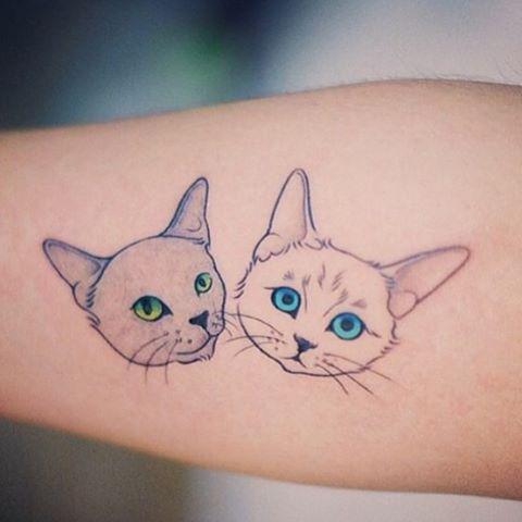 Little Cat Muzzles Tattoo Idea