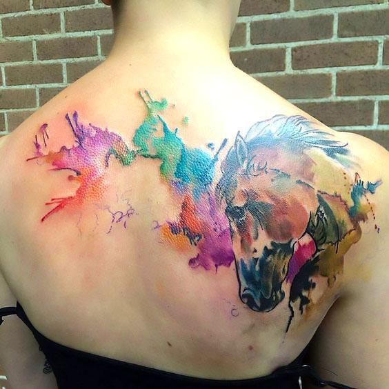 Beautiful Watercolor Horse Tattoo Idea