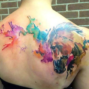 Beautiful Watercolor Horse Tattoo