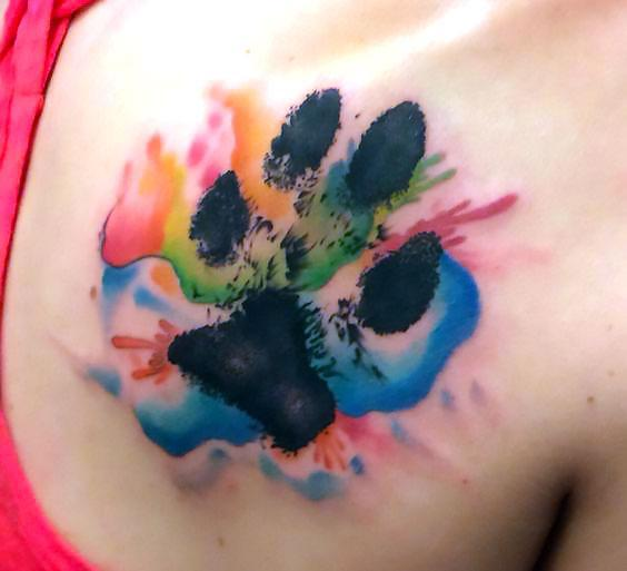 Beautiful Watercolor Puppy Paw Print Tattoo Idea