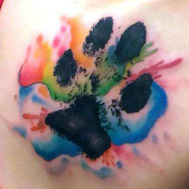 Beautiful Watercolor Puppy Paw Print Tattoo