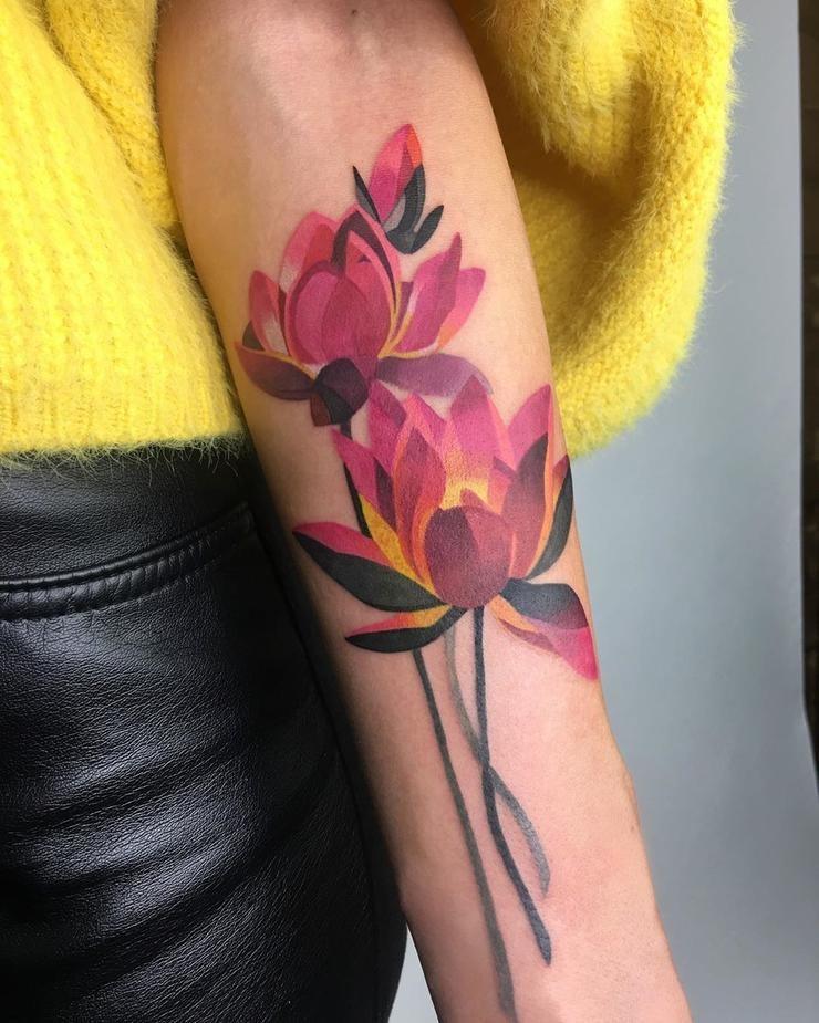 Painterly Lotus Tattoo Idea