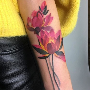 Painterly Lotus Tattoo