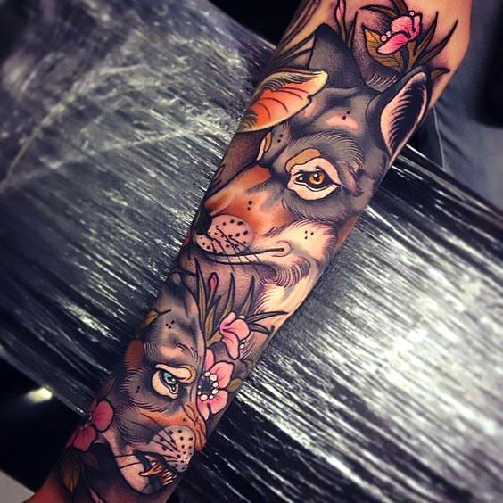 Beautiful Wolf Sleeve Tattoo Idea