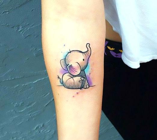 Beautiful Baby Elephant Tattoo Idea