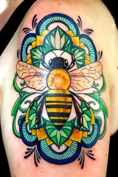 Beautiful Colorful Bee Tattoo Idea
