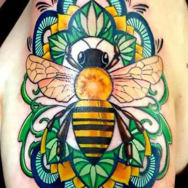 Beautiful Colorful Bee Tattoo