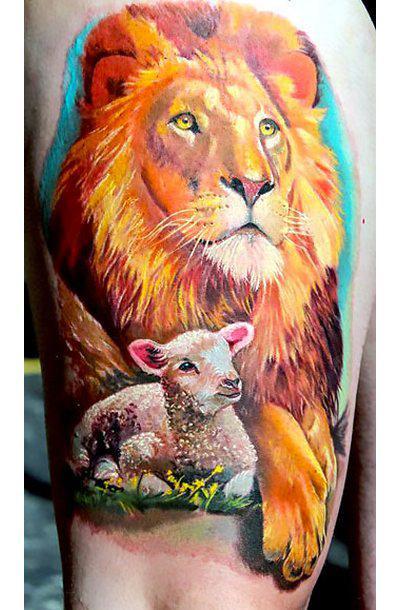 Beautiful Lion and Lamb Tattoo Idea