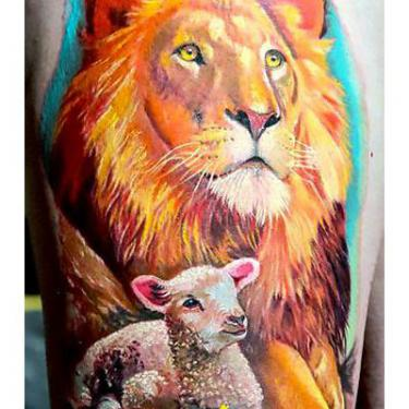 Beautiful Lion and Lamb Tattoo
