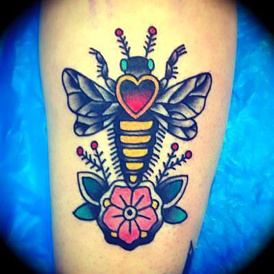 Bee Flower Heart Tattoo Idea