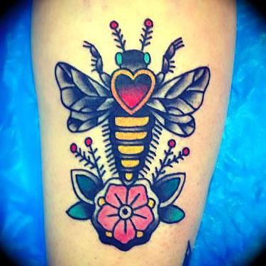 Bee Flower Heart Tattoo