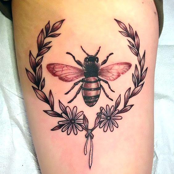 Bee In Plant Frame Tattoo Idea