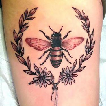 Bee In Plant Frame Tattoo