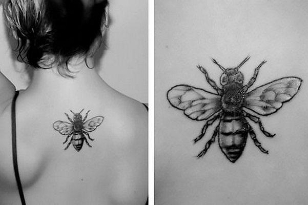 Bee on The Back Tattoo Idea