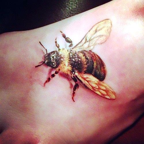 Bee on the Foot Tattoo Idea
