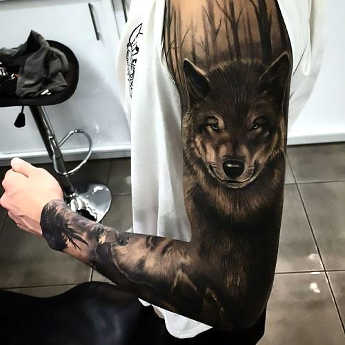 Best Black Wolf Sleeve Tattoo Idea