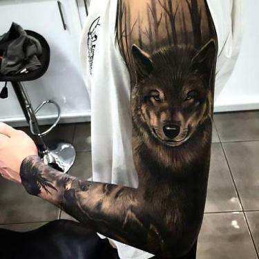 Best Black Wolf Sleeve Tattoo