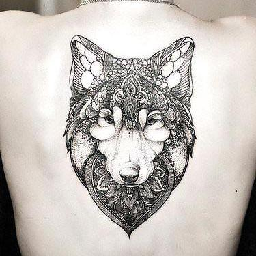 Best Girly Wolf Face on Back Tattoo