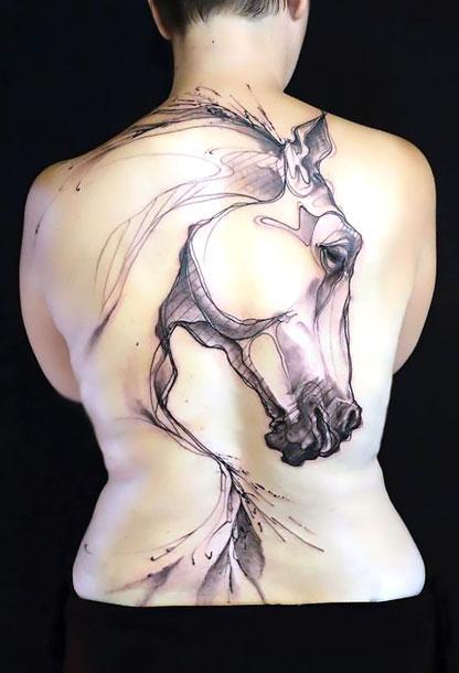 Best Horse Silhouette on Back Tattoo Idea