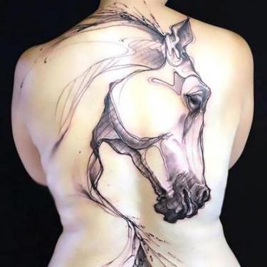 Best Horse Silhouette on Back Tattoo
