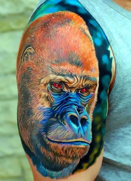 Best Realistic Gorilla Tattoo Idea