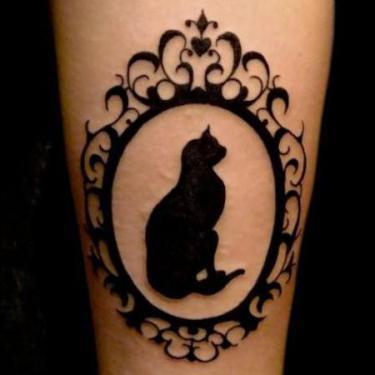 Black Cat Portrait Tattoo