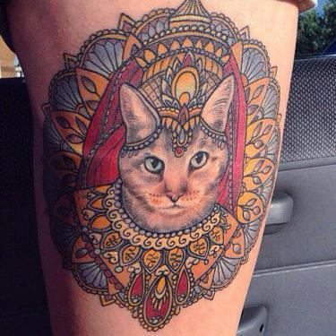 Ornate Cat Portrait Tattoo