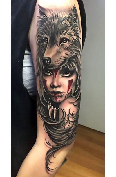Best Wolf on Girl's Head Tattoo Idea