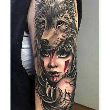 Best Wolf on Girl's Head Tattoo