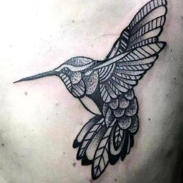 Black Ornate Hummingbird Tattoo