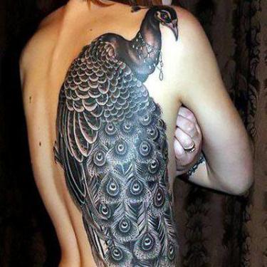 Black Peacock Tattoo