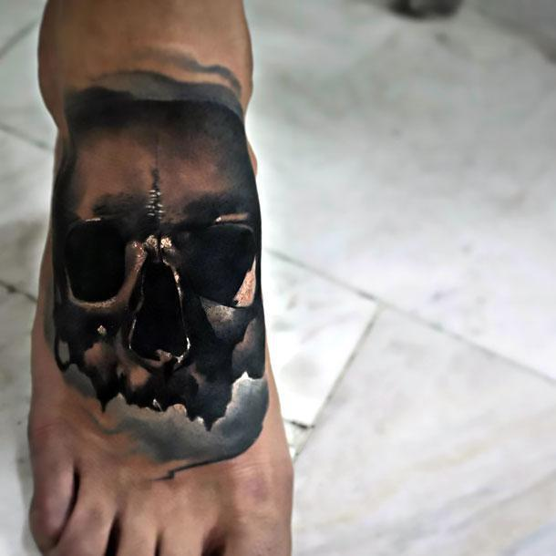 Black Skull on Foot Tattoo Idea