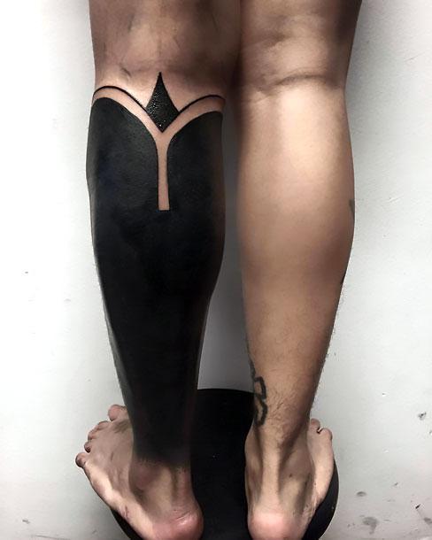 Blackwork Calf Tattoo Idea