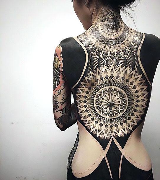 Blackwork Full Back Tattoo Idea