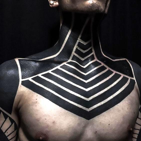 Blackwork Neck Tattoo Idea