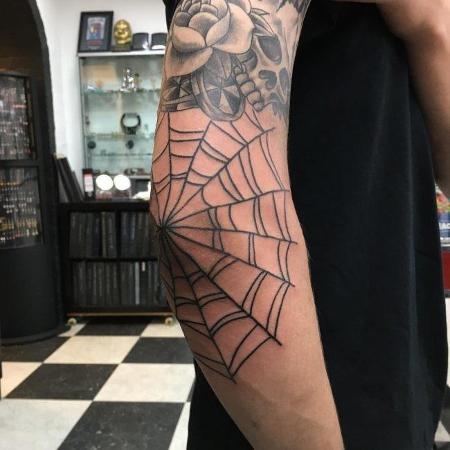 Rose And Spider Web Tattoo Idea