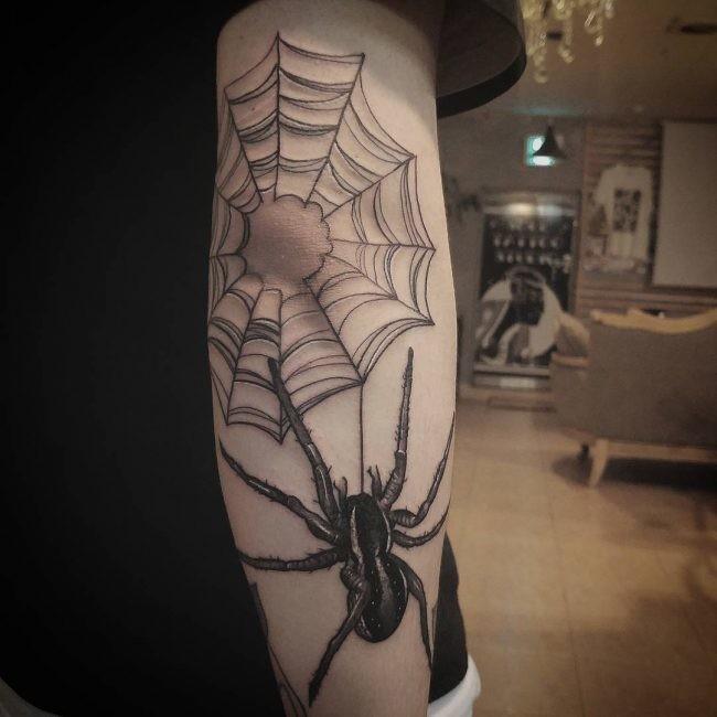 Thin Spider Web Tattoo Idea