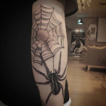 Thin Spider Web Tattoo