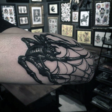 Scary Spider Weaving Web Tattoo