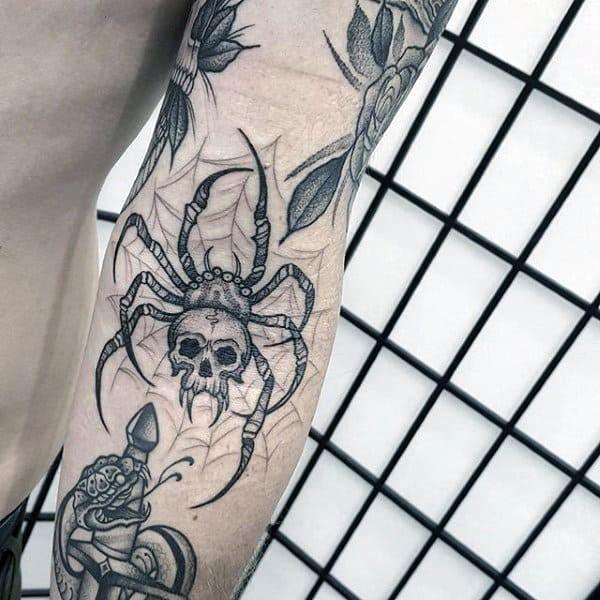 Skull Spider Tattoo Idea