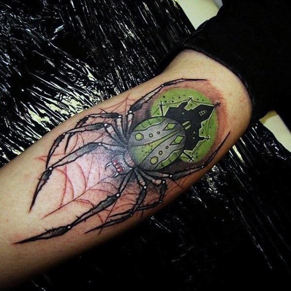 Green Spider Tattoo Idea