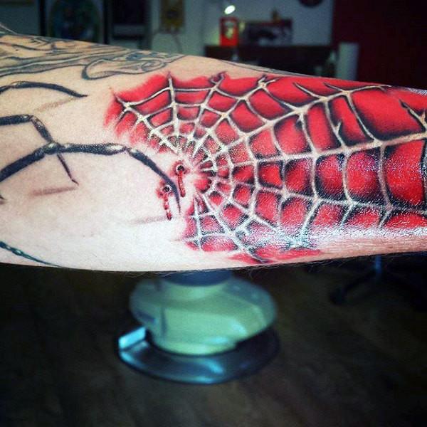 Red Spiderman Web Tattoo Idea