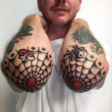 Spider Web With Red Holes Tattoo