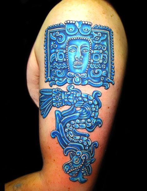 Blue Ancient Art Tattoo Idea