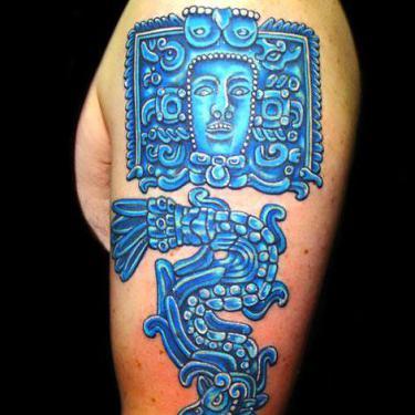Blue Ancient Art Tattoo