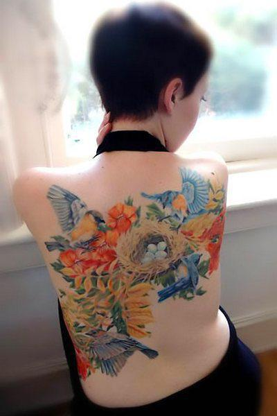 Bluebird Nest Tattoo Idea