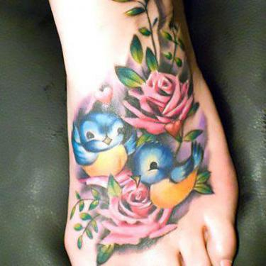 Bluebird Nestings on Foot Tattoo