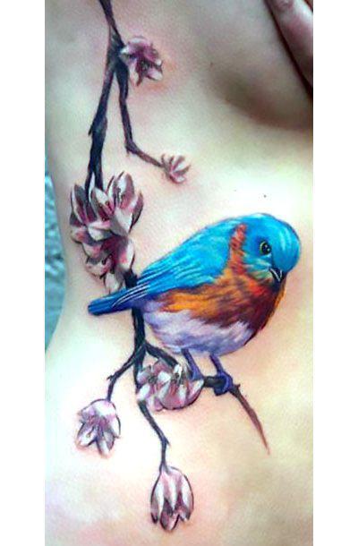 Bluebird on Branch Tattoo Idea