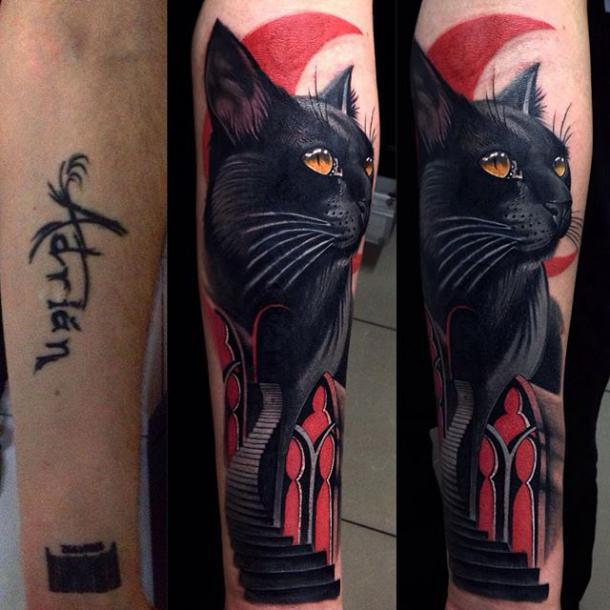Black Cat Cover Up Tattoo Idea