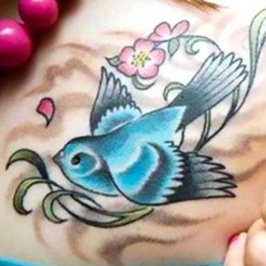 Bluebird on Collarbone Tattoo